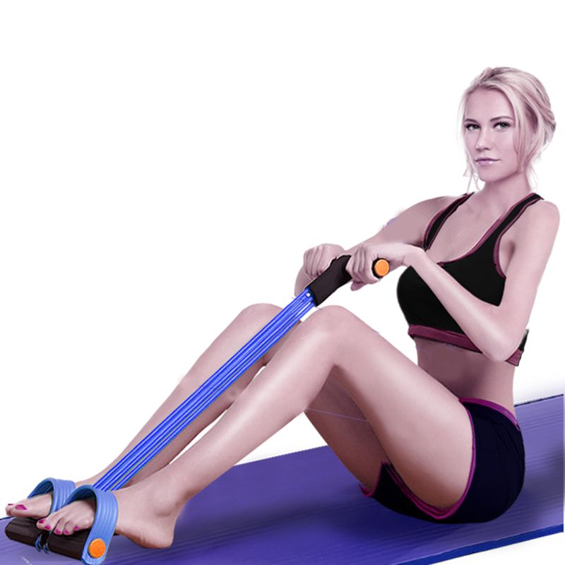 Extensor Elastico Para Exercicio Fisico Ginastica  Academia resistência 4 tubos azul