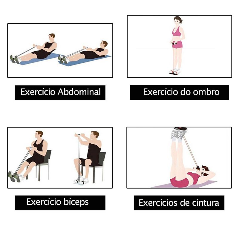 Extensor Para Exercicio Fisico Academia Ginastica Elastico resistência 4 tubos Rosa