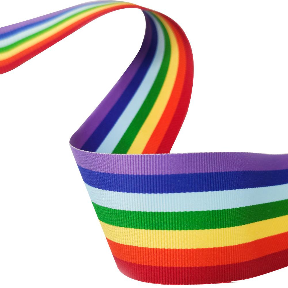 Fita Arco Iris Lgbt Gorgurao 38mm x 90 metros Orgulho Aviamentos Diy Sanding Decoraçao Roupas Laços Acabamentos Pride