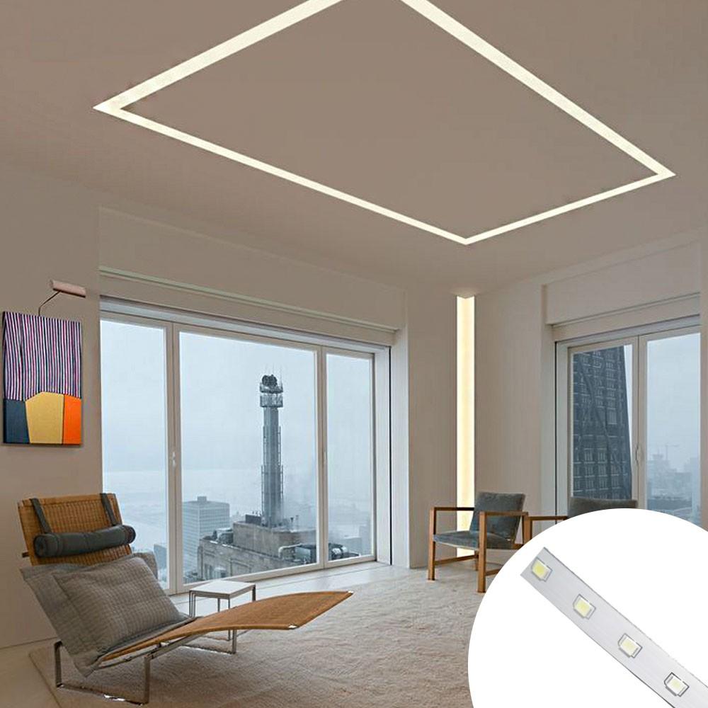 Fita de LED Branco Frio Iluminaçao Decoraçao Sanca Plafon Teto Gesso Rebaixado Luz Casa Comercio