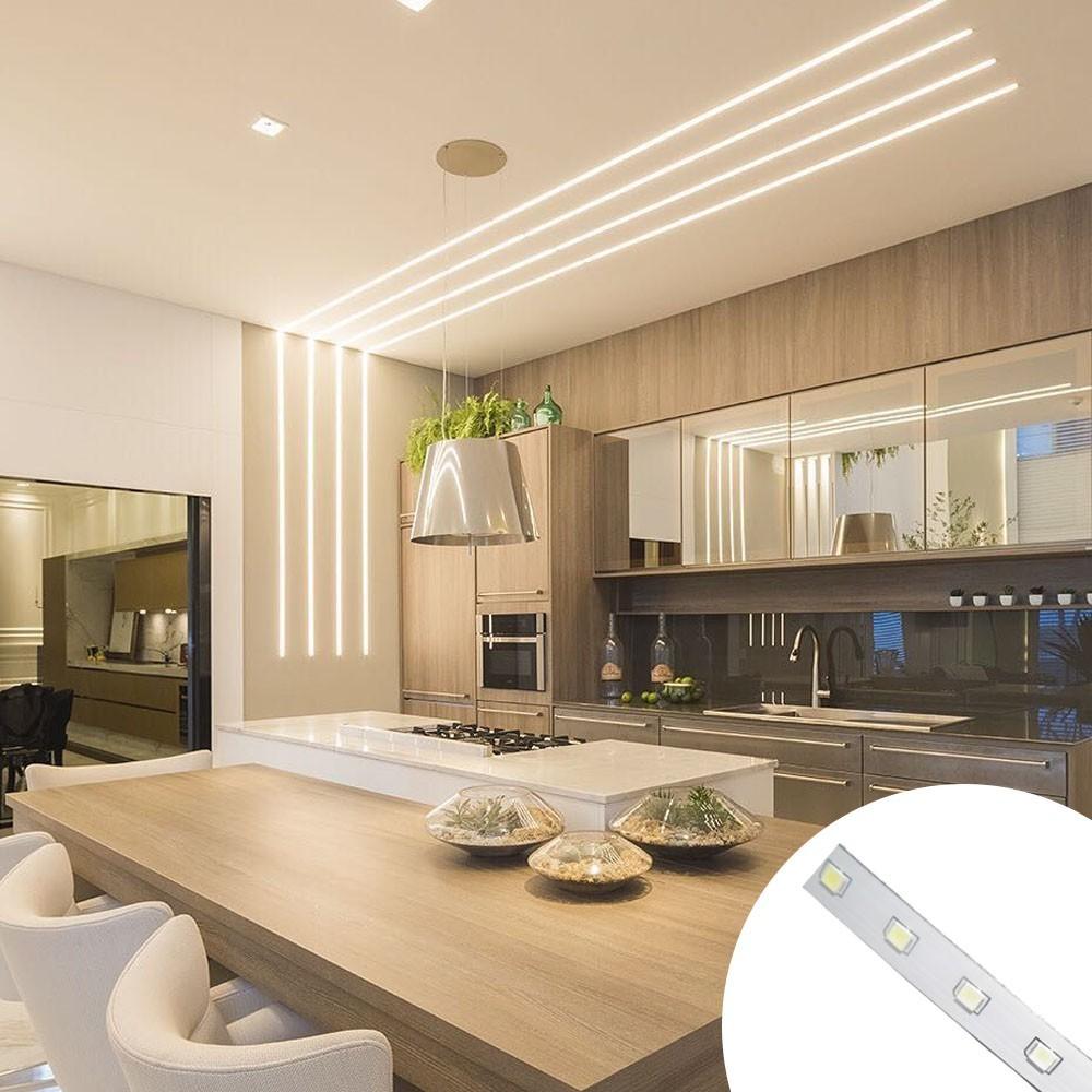 Fita de LED Branco Kit 12 unidades Frio Iluminaçao Decoraçao Sanca Plafon Teto Gesso Rebaixado Casa Comercio Luz