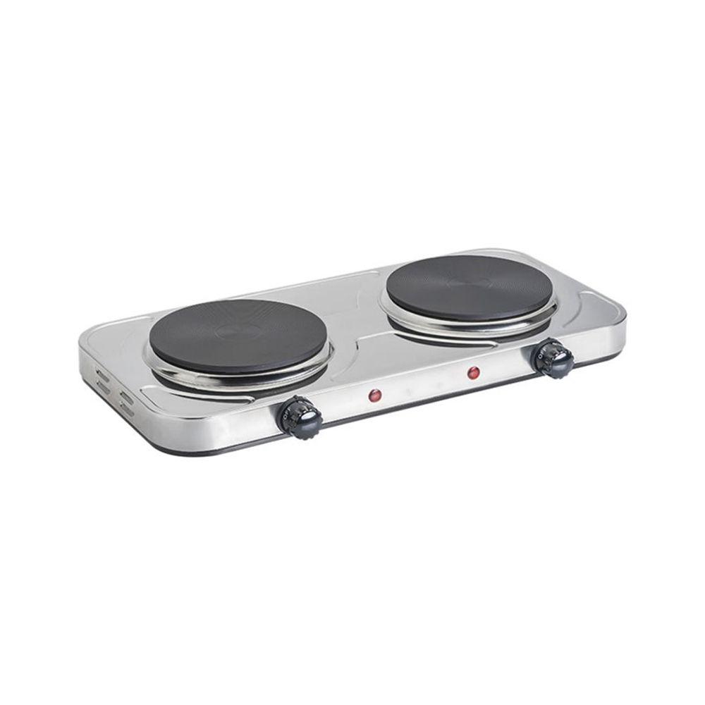 Fogao Eletrico cooktop 2 Bocas Anti-aderente Fogareiro Portatil 500° Aço Inox 2000w