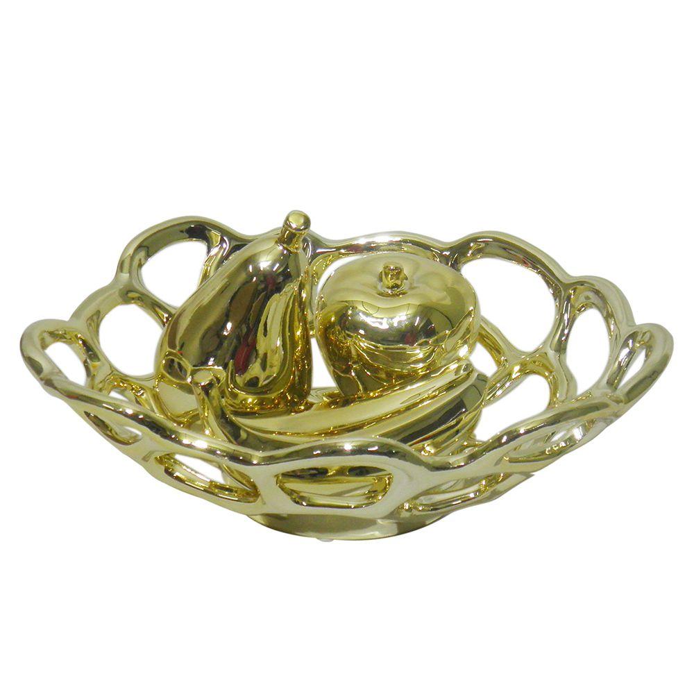 Fruteira Ouro Dourada Kit Maça Pera Banana Decoracao Ceramica