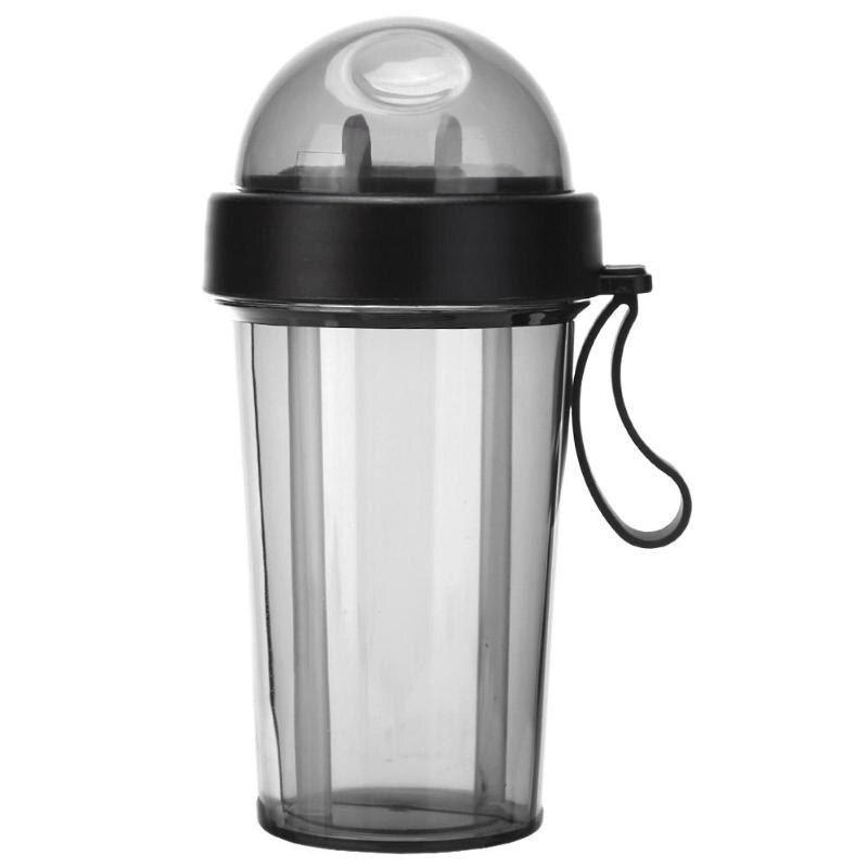 Garrafa  de canudo duplo 2 compartimento  com tampa copo bebida quente fria  2 em 1 preto
