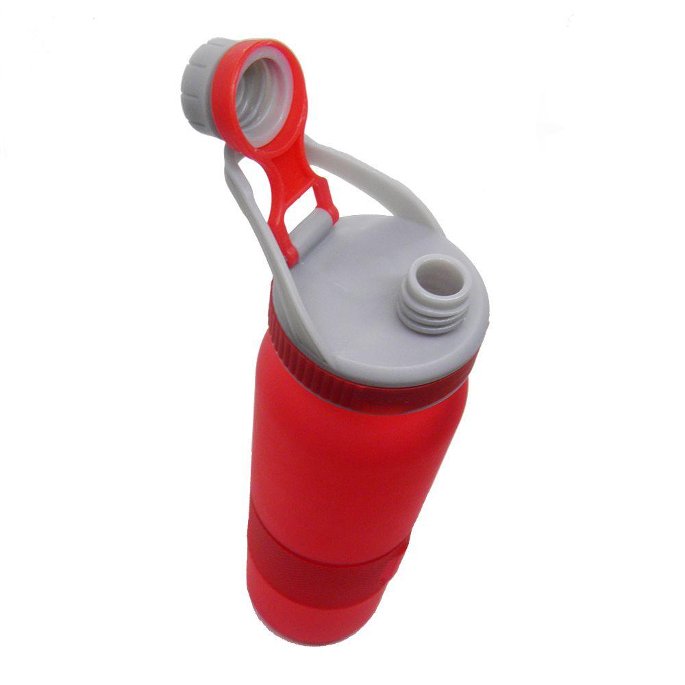 Garrafa Squeeze 700ml Vermelho Tubo Gelo Resfriamento Academia Bebida Trava