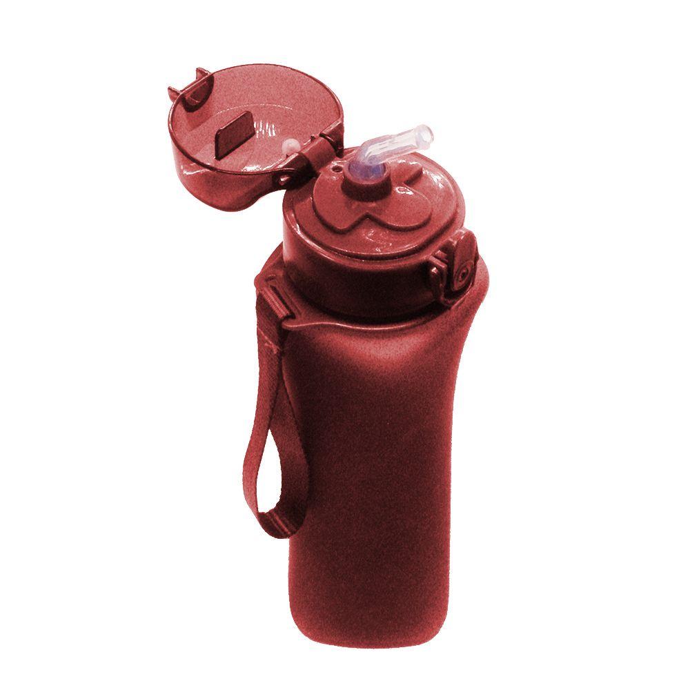 Garrafa Squeeze Esporte Academia Bebida 600ml Trava Vermelho Bico de Silicone
