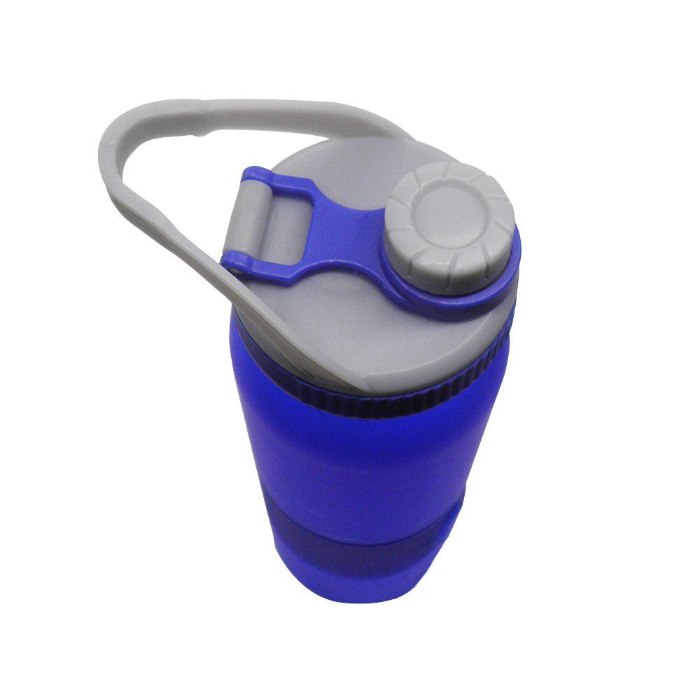 Garrafa Squeeze Tubo Gelo Agua Gelada 700ml Esporte Trava Azul