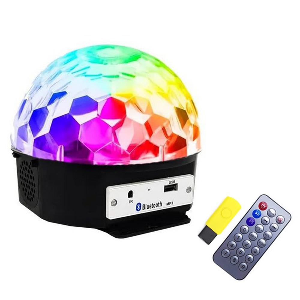 Globo Colorido Jogo de Luz Strobo Rgb Iluminação Dj Bluetooh MP3 Musica c/Controle Festa em Casa