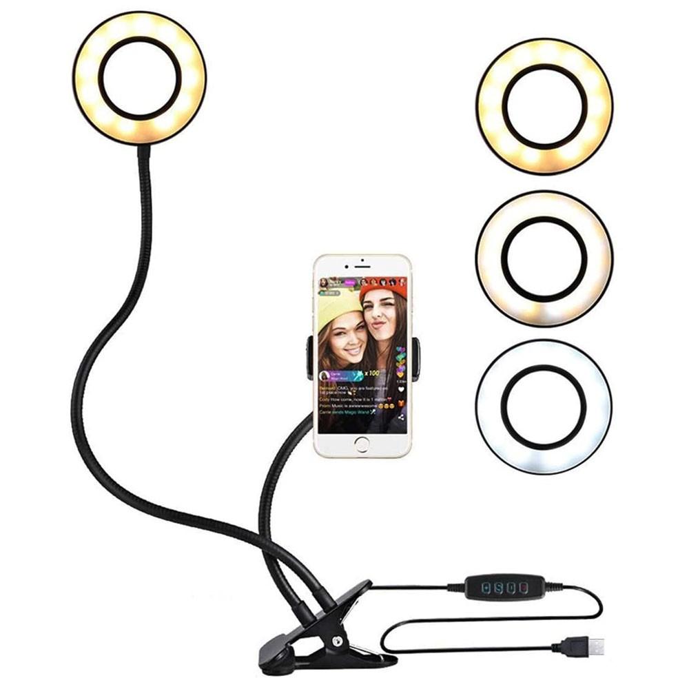 Iluminador Ring Light Anel Luz Articulado LED Youtube Maquiagem Garra Celular Foto Video