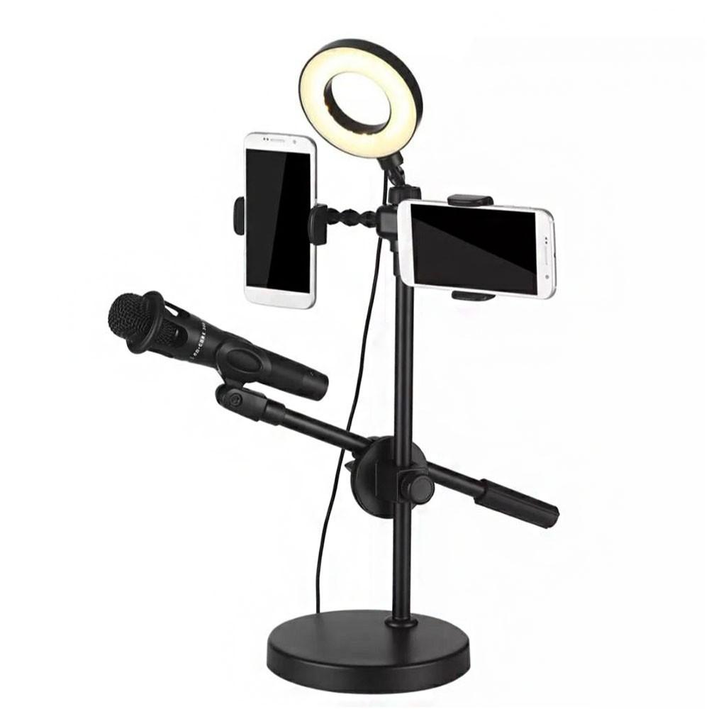 Iluminador Ring Light LED Youtuber Profissional Duplo Suporte Celular Microfone Foto Video Live Anel Luz
