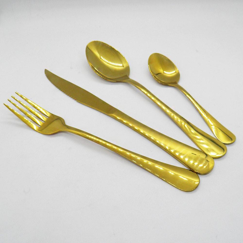 Jogo de Talheres 24 Peças Conjunto Luxo Dourado Colher Garfo Faca Jantar Cozinha Mesa Gourmet