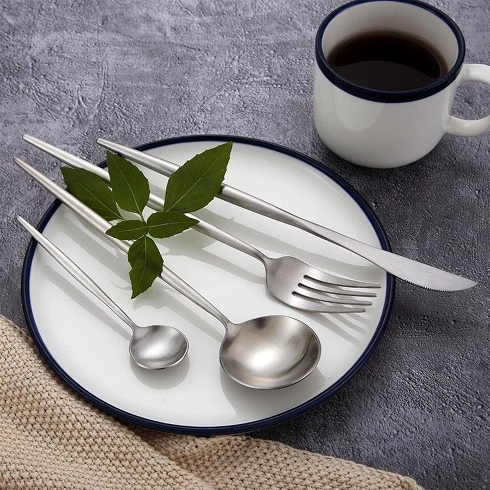 Jogo de Talheres 24 Peças Conjunto Luxo Prata Colher Garfo Faca Jantar Cozinha Mesa Gourmet
