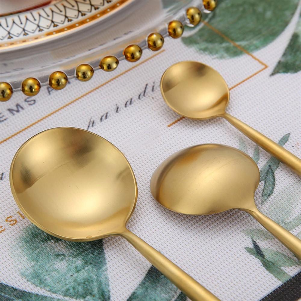 Jogo de Talheres 4 Peças Conjunto Luxo Dourado Colher Garfo Faca Jantar Cozinha Mesa Gourmet