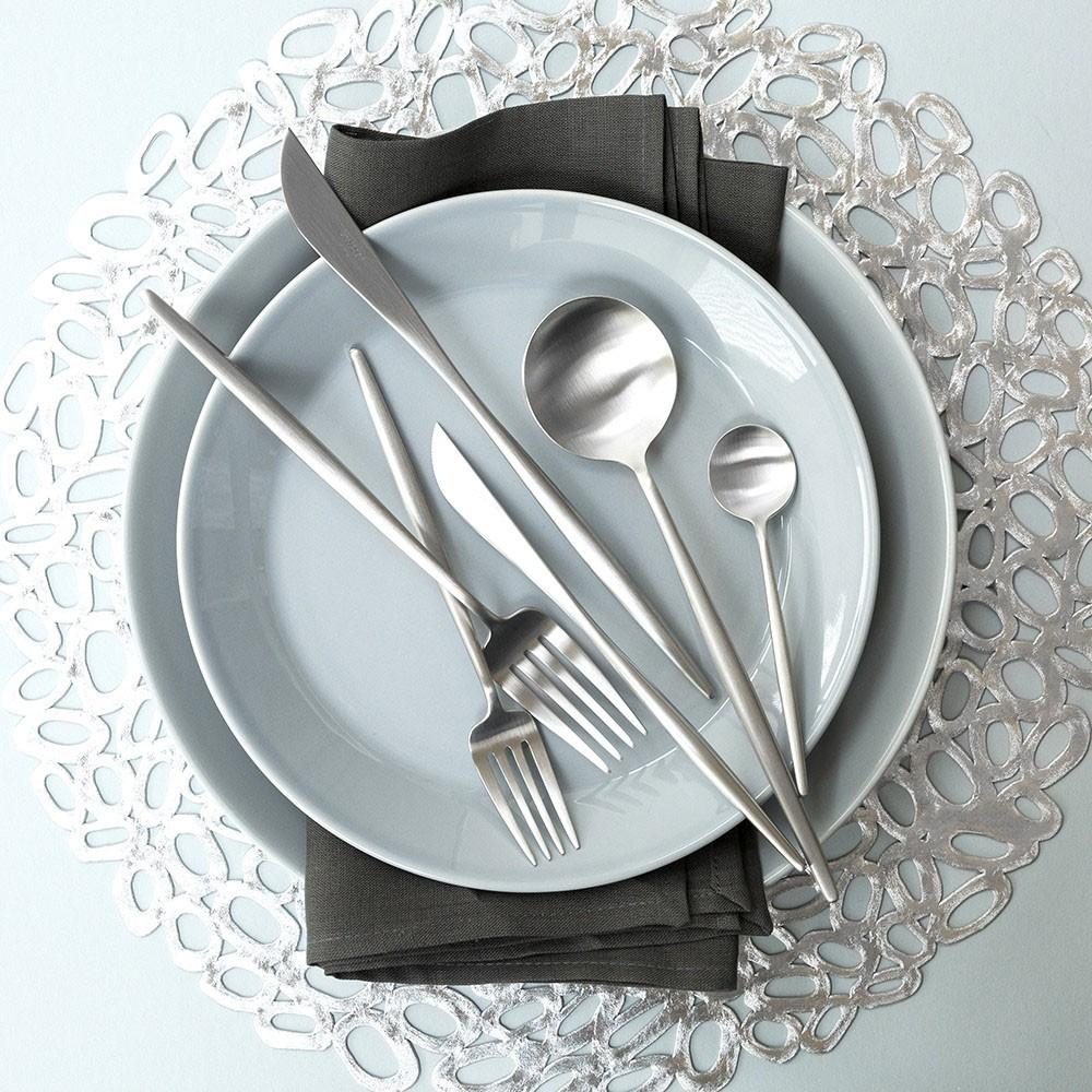 Jogo de Talheres 4 Peças Conjunto Luxo Prata Colher Garfo Faca Jantar Cozinha Mesa Gourmet
