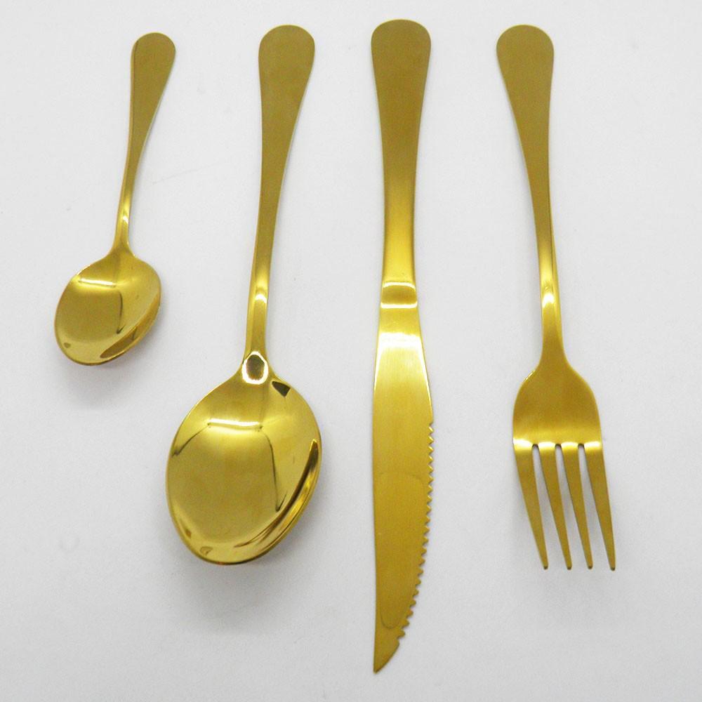 Jogo de Talheres 20 Kits de 4 Peças Conjunto Luxo Dourado Colher Garfo Faca Jantar Cozinha Mesa Gourmet