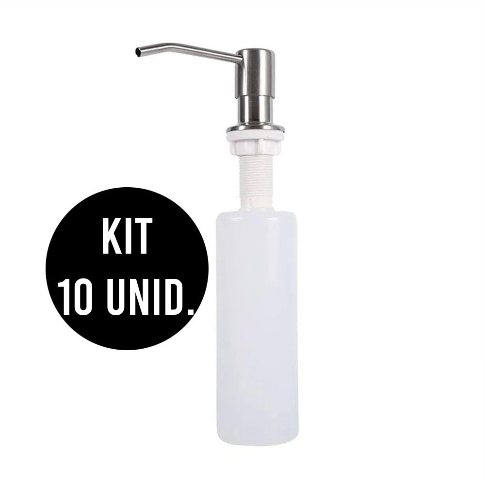 KIT 10 Unidades Dispenser Dosador sabão  Embutir Pia  Detergente Sabonete Liquido escovado cozinha banheiro