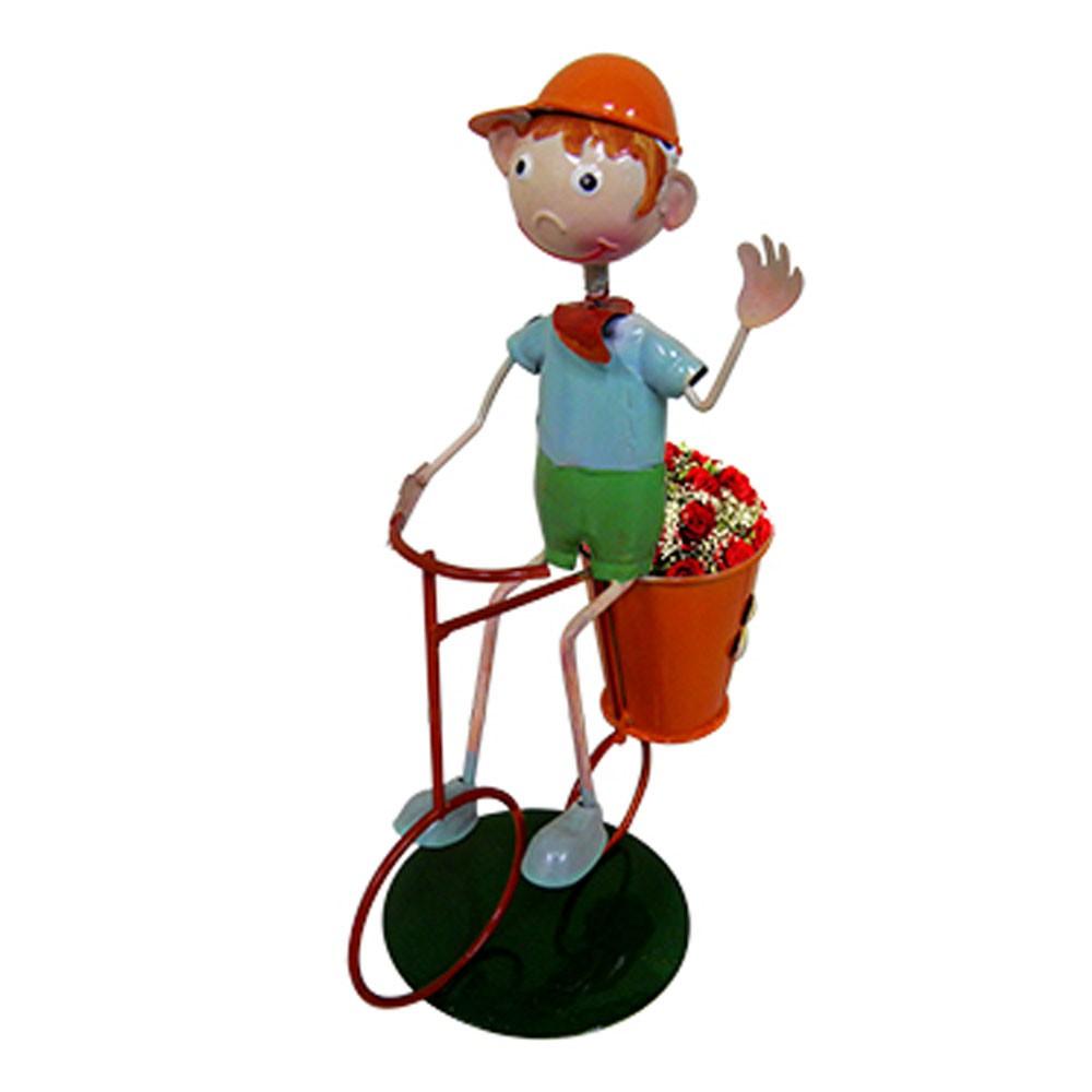 Kit 2 Bonecos Com Bicicleta Para Enfeitar Decorar Jardim