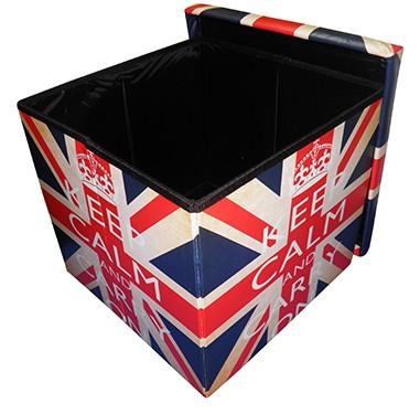 Kit 2 Puff Bau Porta Treco Vintage Retro Dobravel Com Assento London