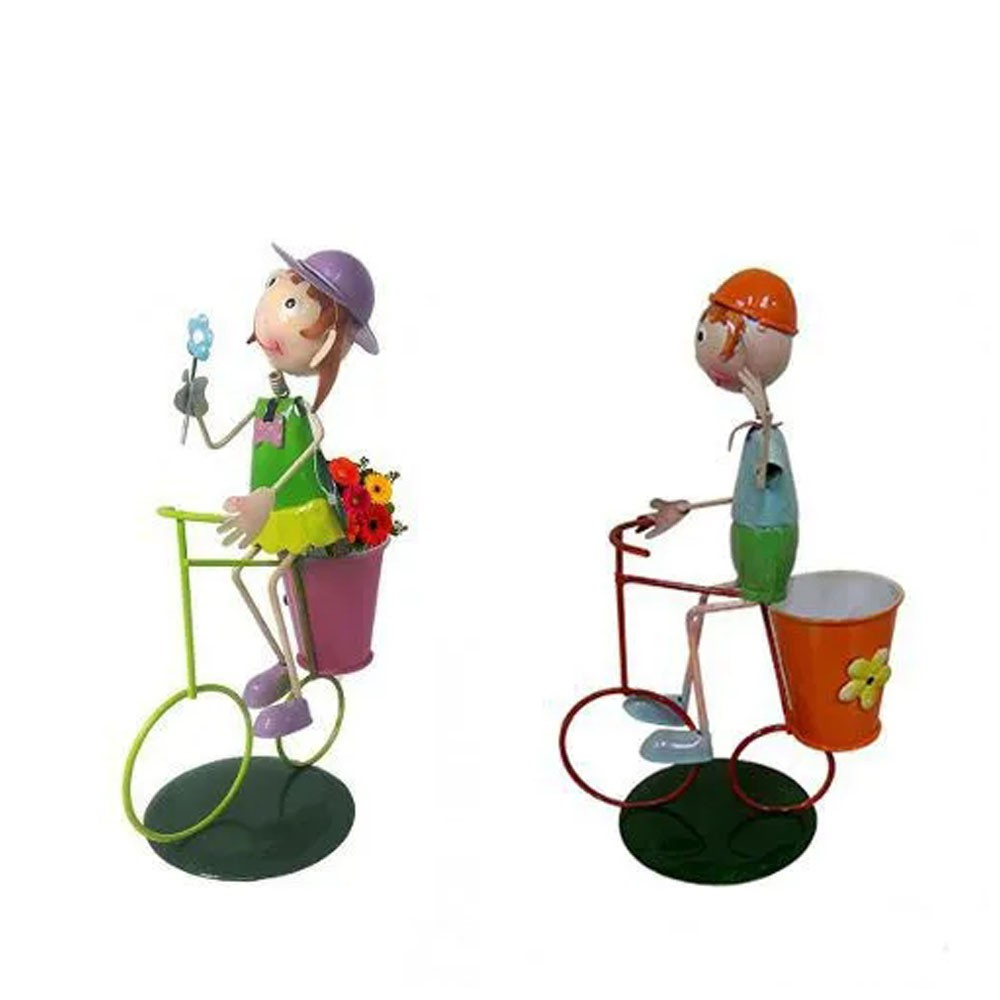 Kit 3 Casais De Bonecos Bicicleta Enfeitar Decorar Jardim
