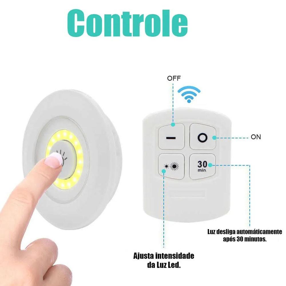 Kit 3 Lampadas Luminaria Led Controle Sem Fio Spot Remoto 15w