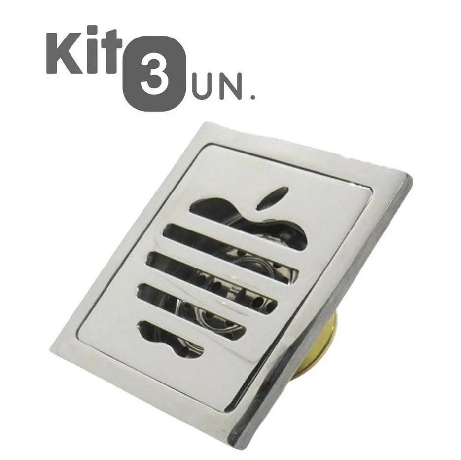 Kit 3 Ralos Inteligentes Anti Odor Insetos Aço Inoxidavel Banheiro 10X10 Maça