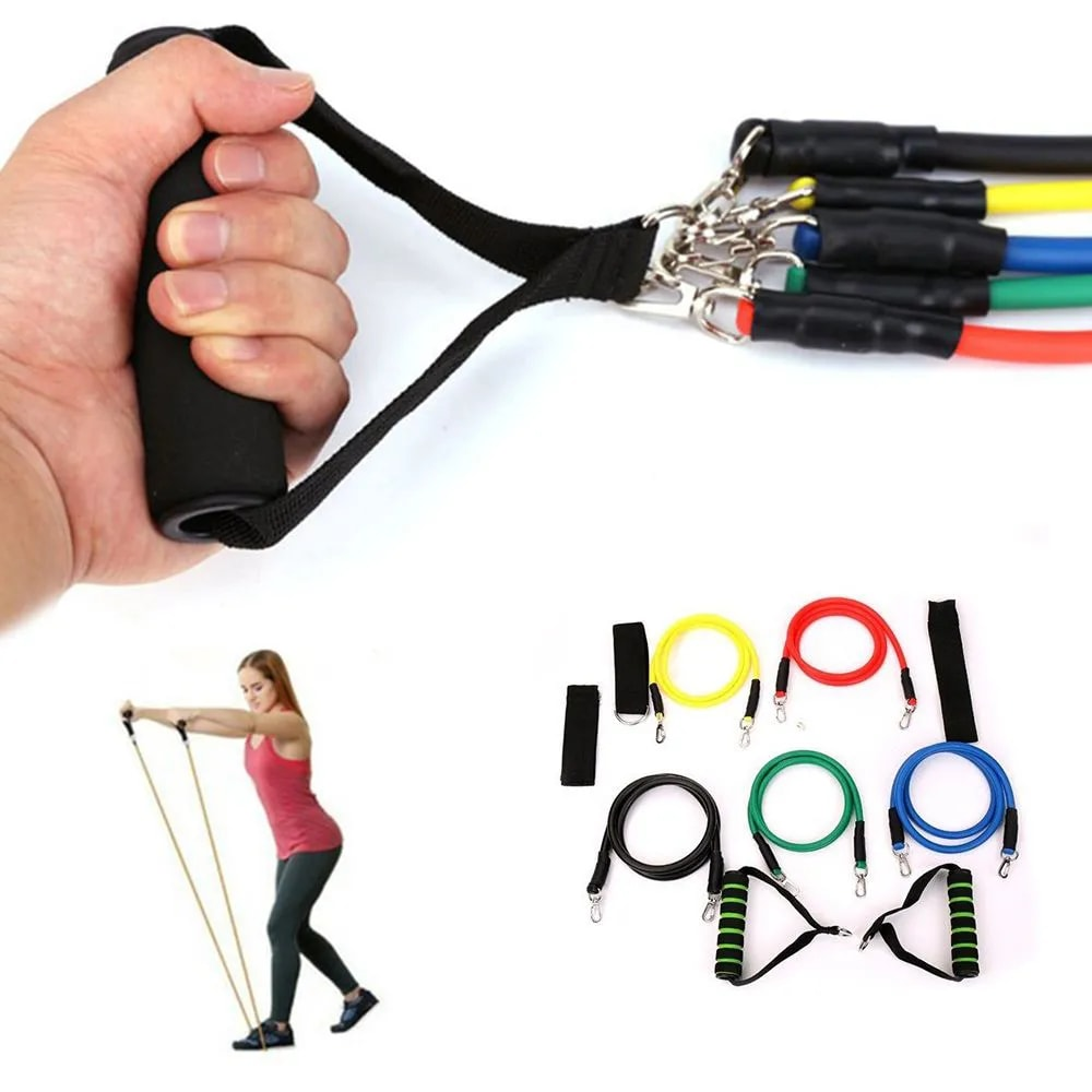 Kit 5 Elasticos Extensores Exercicios Fitness Tubing Esportes Funcional Academia Em Casa
