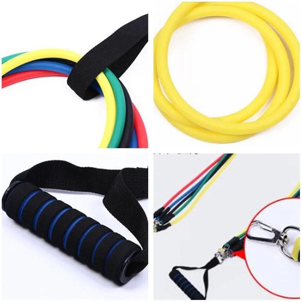 Kit 5 Elasticos Extensores Tubing Fitness Exercicios Em Casa Funcional Esportes