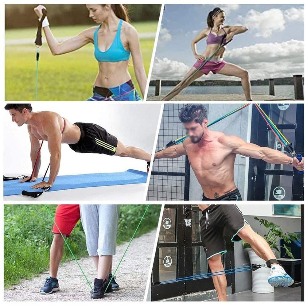 Kit 5 Elasticos Extensores Tubing Fitness Exercicios Esportes Funcional Academia