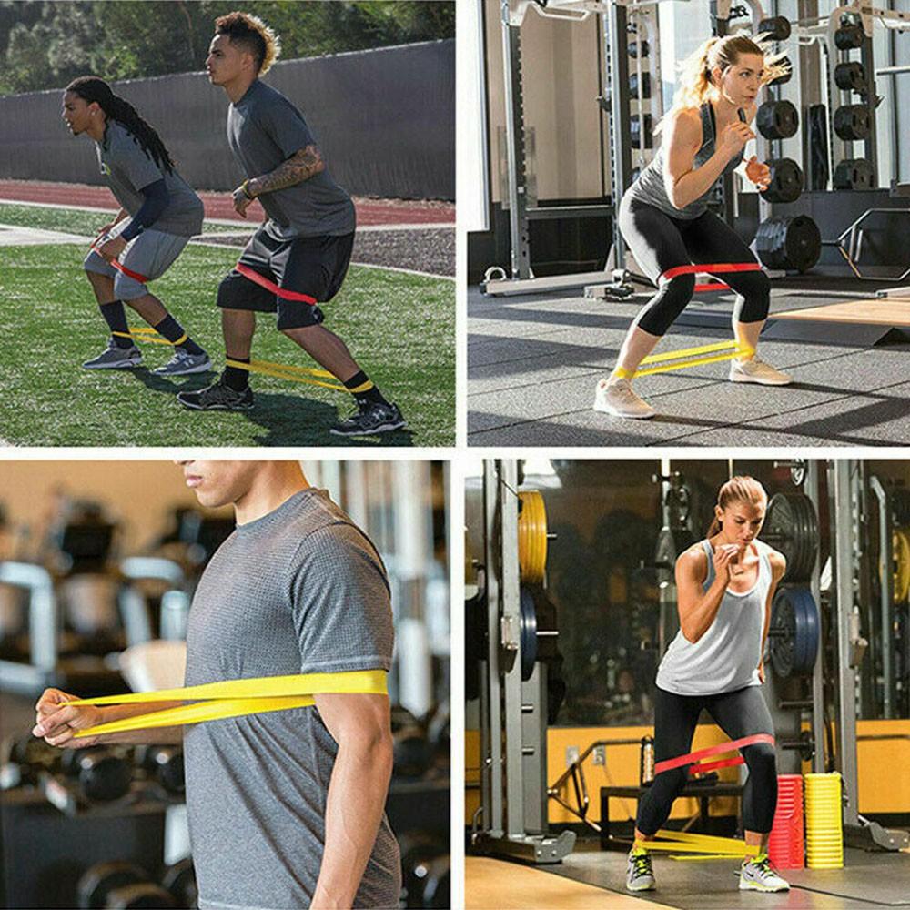 Kit 5 Faixas Elasticas Exercicios em Casa Extensor Mini Band Academia Yoga Pilates Fitness