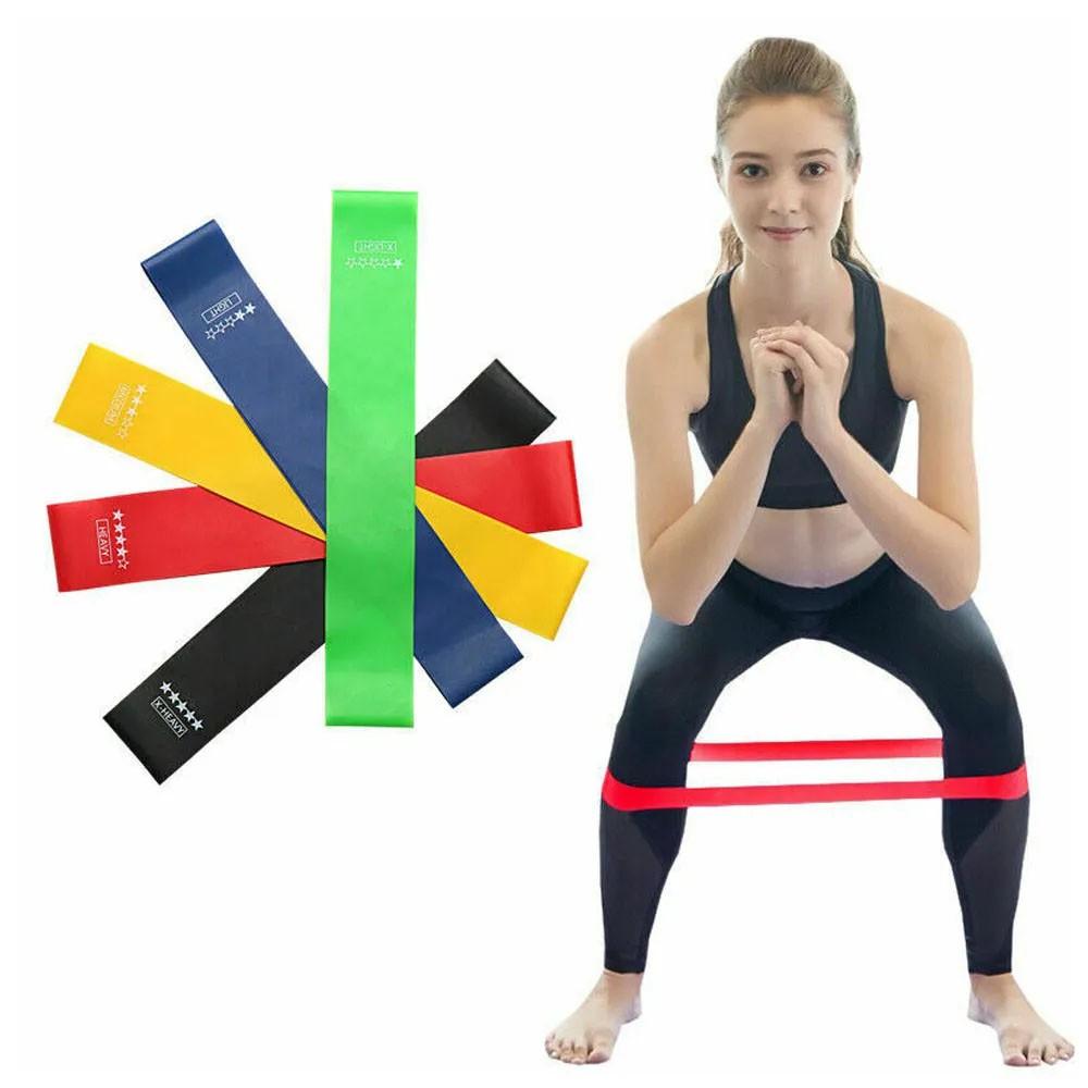 Kit 5 Faixas Elasticas Mini Band Exercicios em Casa Extensor Academia Yoga Pilates Fitness