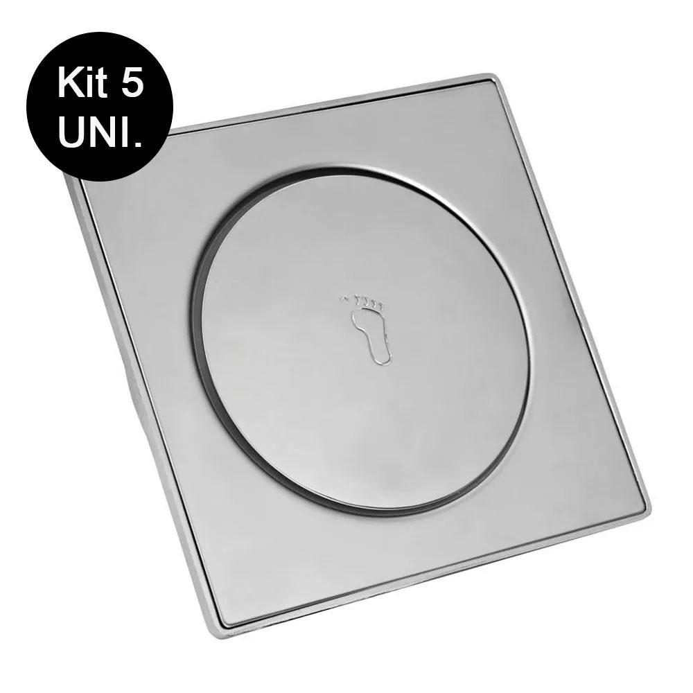 Kit 5 Ralos Click Inteligente Aço Inox Clic 10x10 Banheiro Pop Up Lavabo