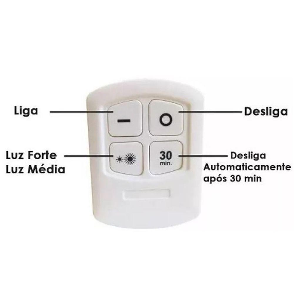 Kit 6 Lampadas Led Luminaria Controle Sem Fio Spot Remoto 15w