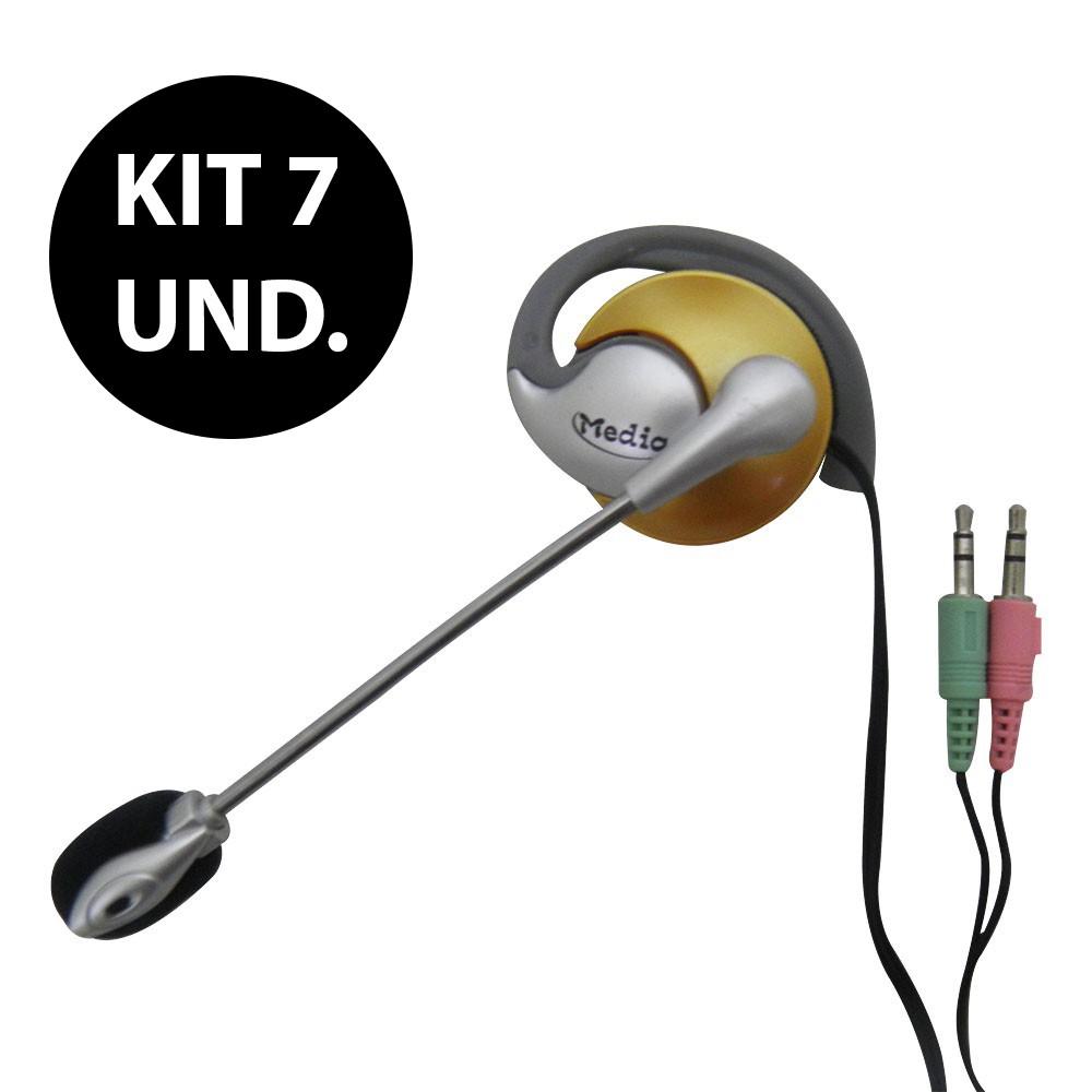 Kit 7 Uni. Fone de ouvido com microfone P2 Home Office Computador Notebook Jogos Whatsapp Headset