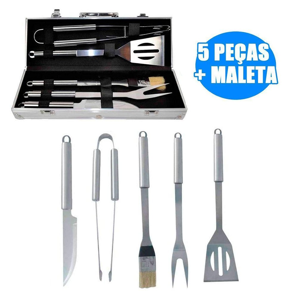 Kit Churrasco Jogo com 5 Peças Inox Maleta em Aluminio Churrasqueira Casa