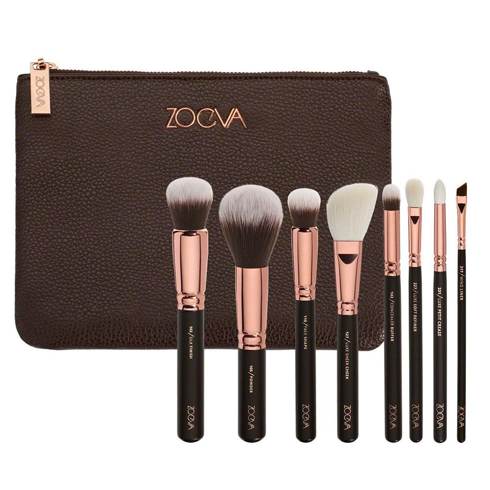 Kit de Pinceis para Maquiagem com Bolsa 8 Pinceis Mulher Beleza Makeup