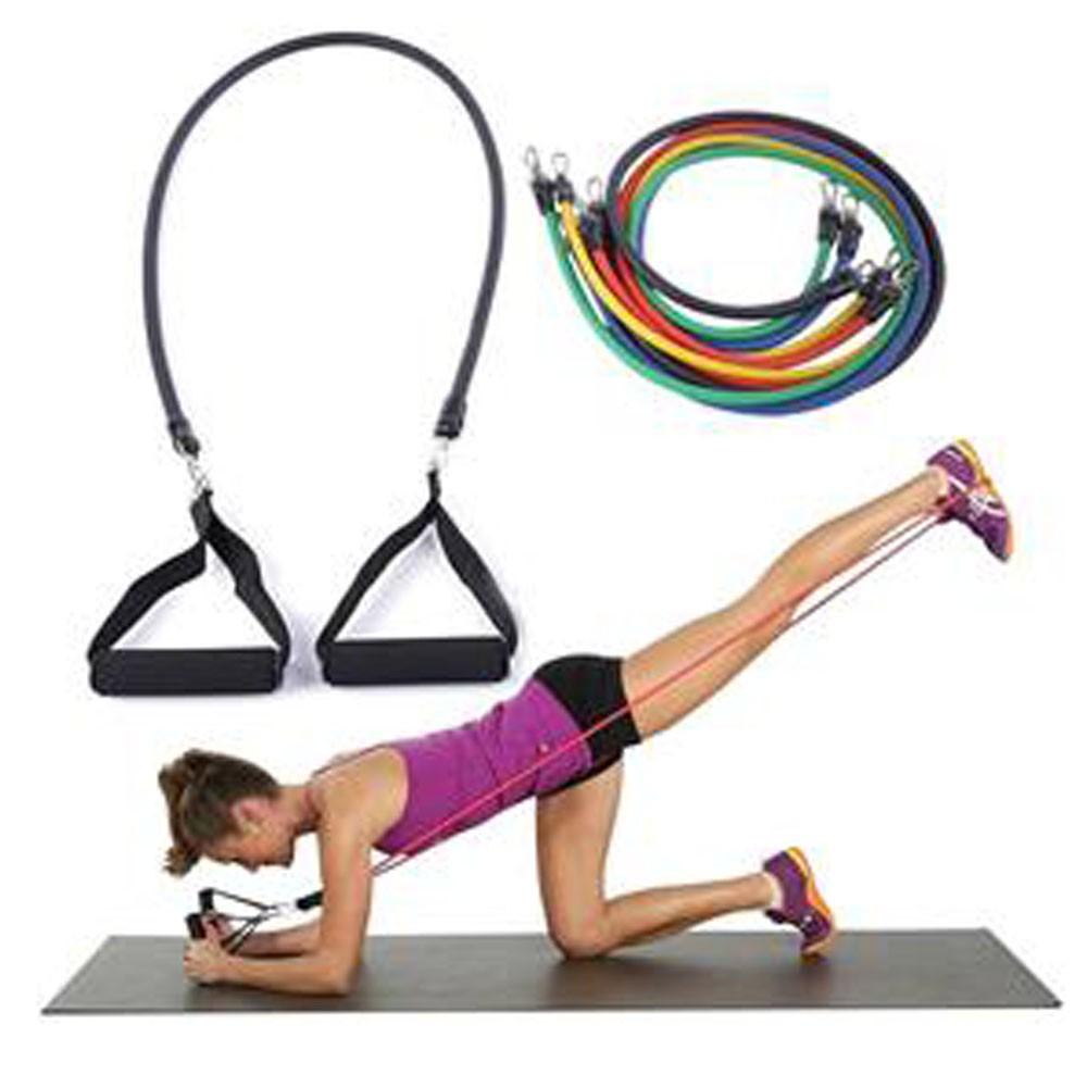 Kit Extensor 5 Elasticos Exercicio em Casa Academia Abdominal Pilates Tonificaçao