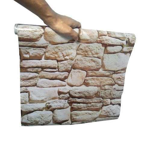 Kit Papel De Parede 6 Unid Pedra Marrom Claro Autoadesivo