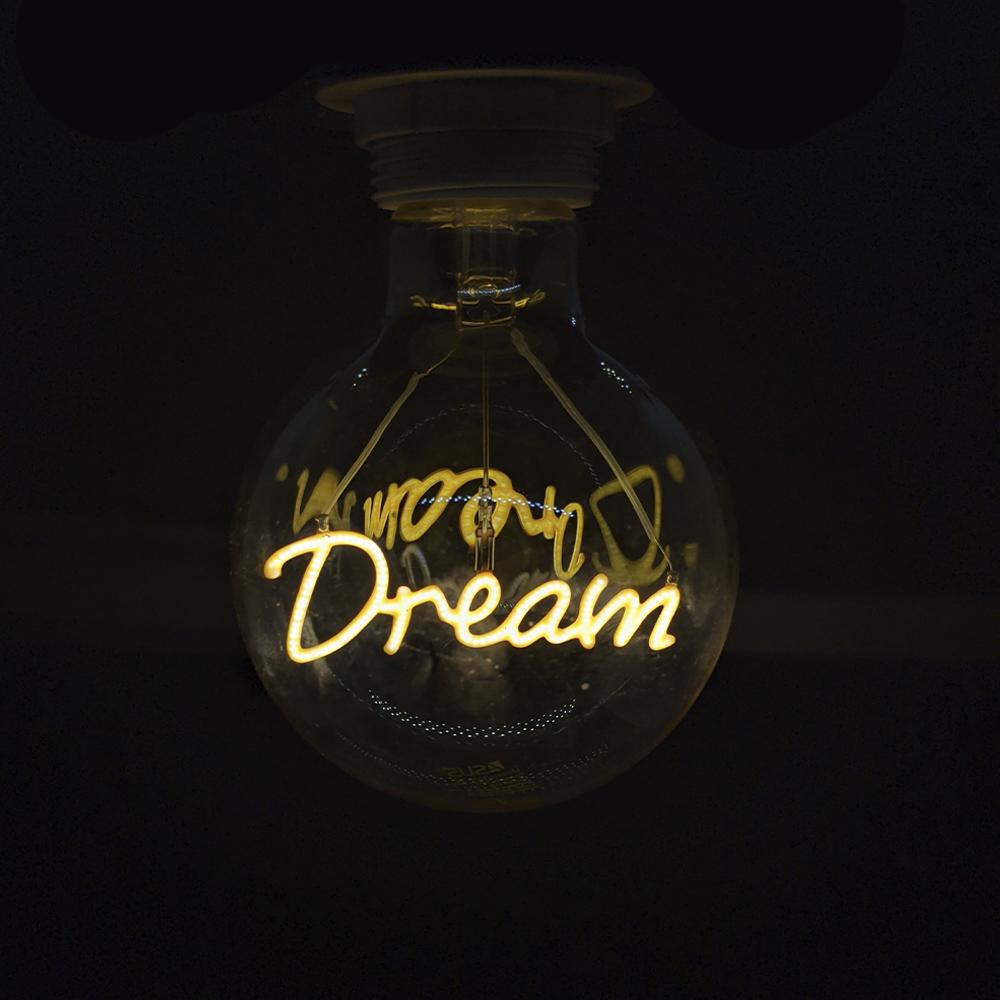 Lampada Led Dream Vintage Mensagem 4w Branco Quente Casa Comercio