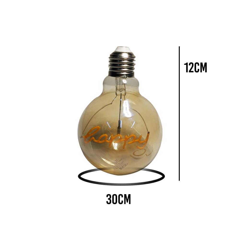 Lampada Led Happy Vintage Mensagem 4w Branco Quente Casa Comercio