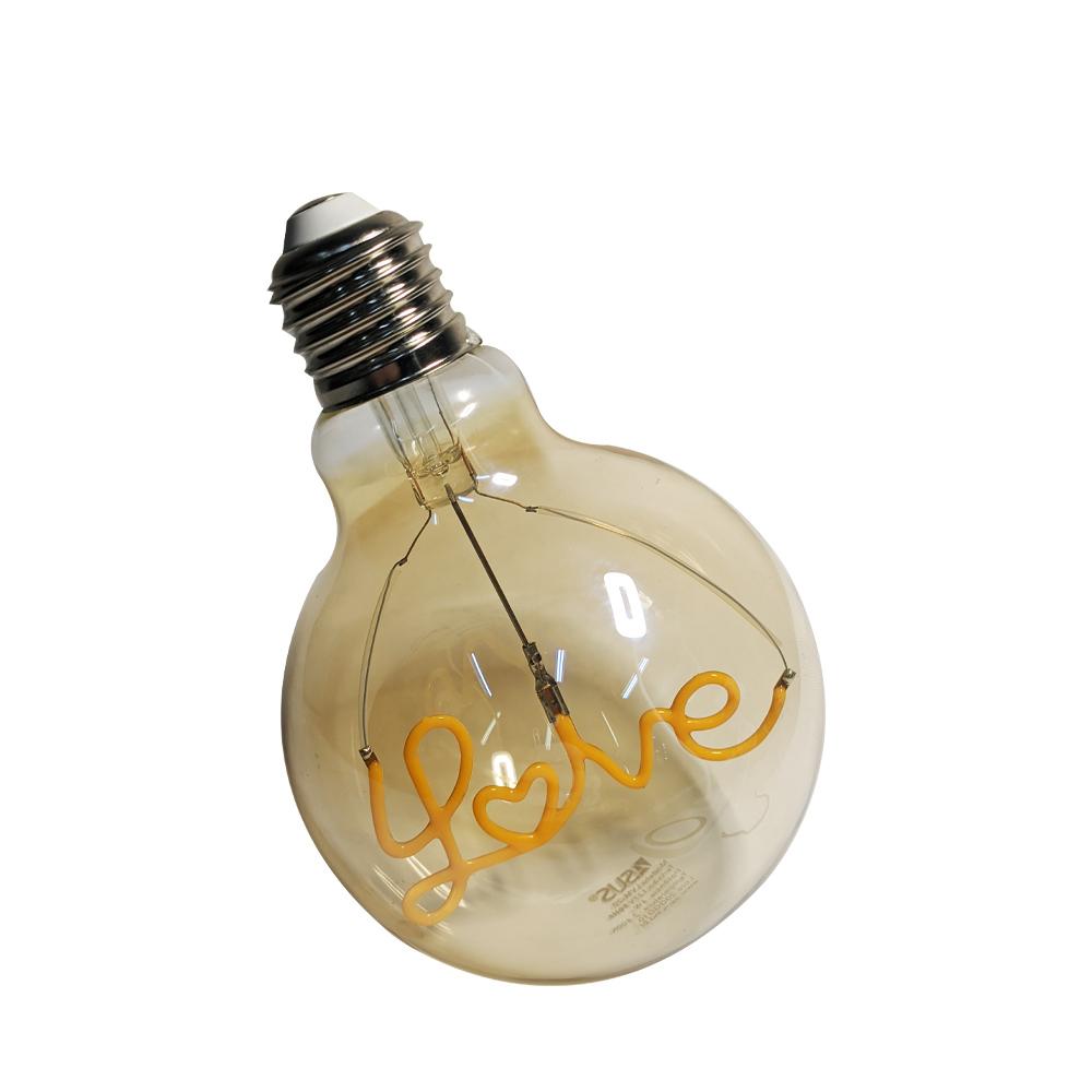 Lampada Led Love Vintage Mensagem 4w Branco Quente Casa Comercio