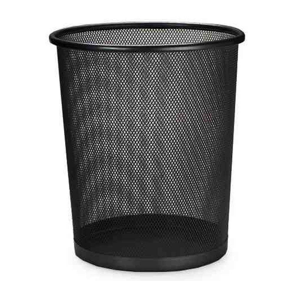 Lixeira Redonda Telada de Aço Preta Lixo Cesto Escritorio