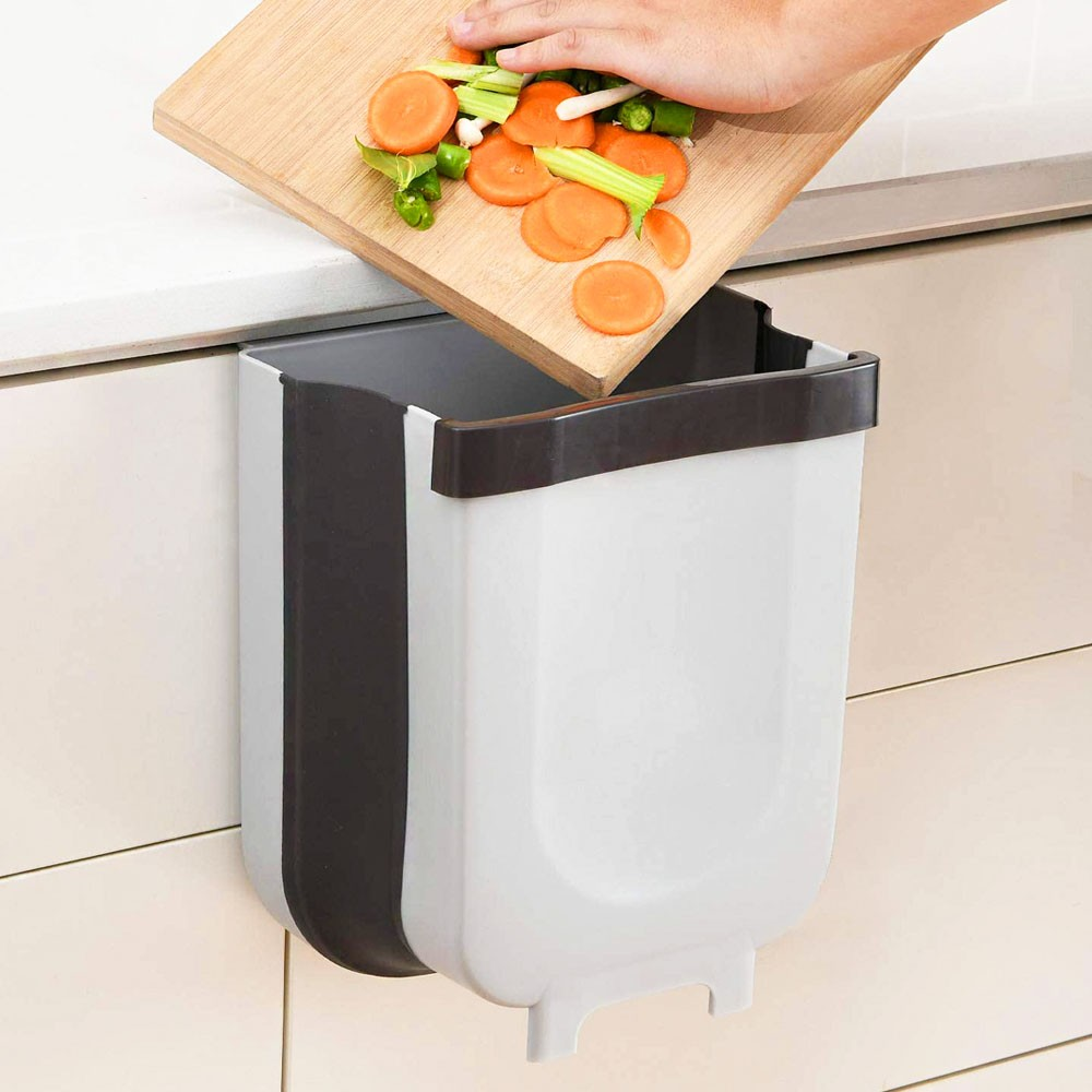 Lixeira Retratil Silicone Cesto Dobravel Multiuso Para Pendurar Portatil Cozinha Porta Escritorio Quarto Casa