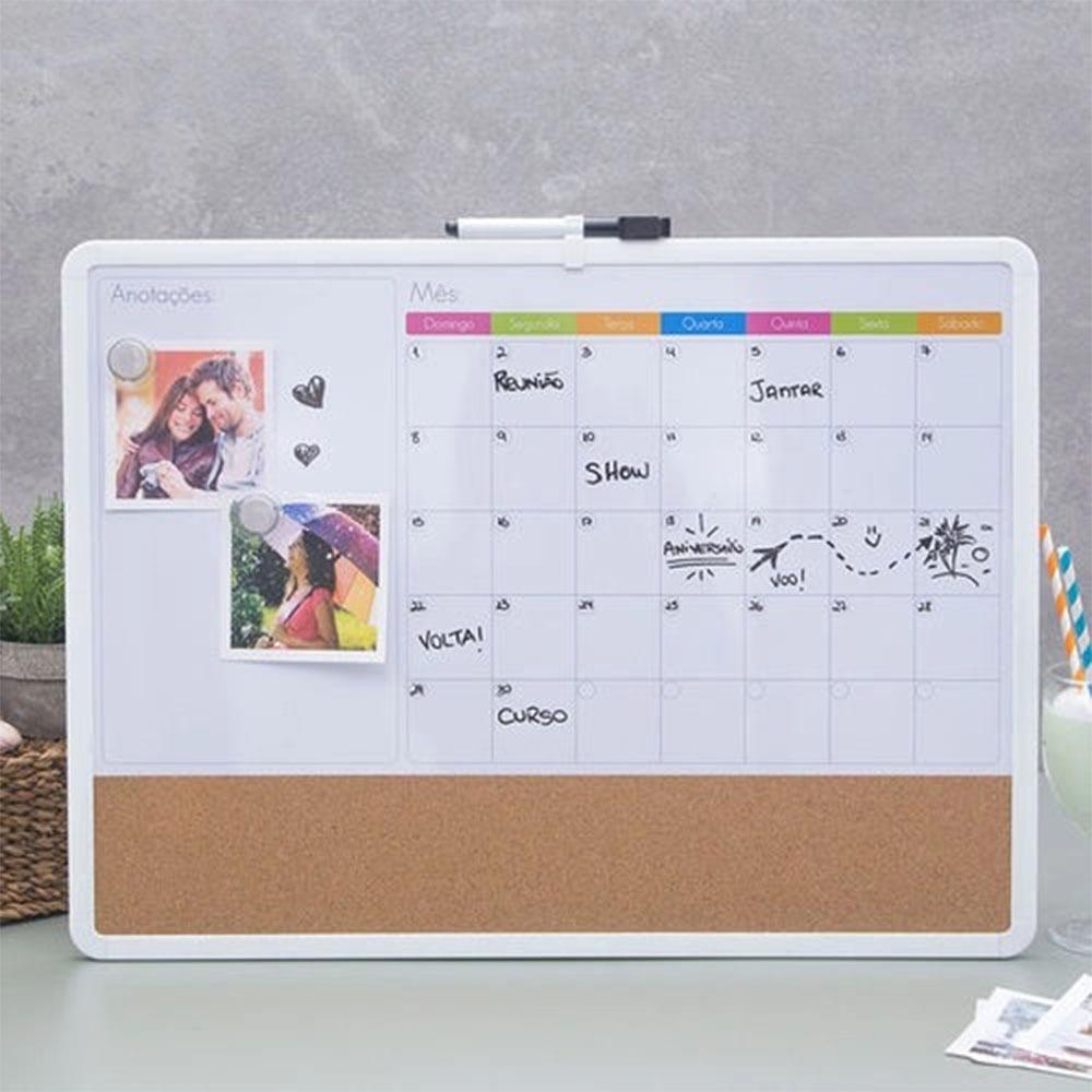 Lousa Quadro Magnético Planner Planejamento Semanal Mensal Caneta Anotações Lembretes Parede