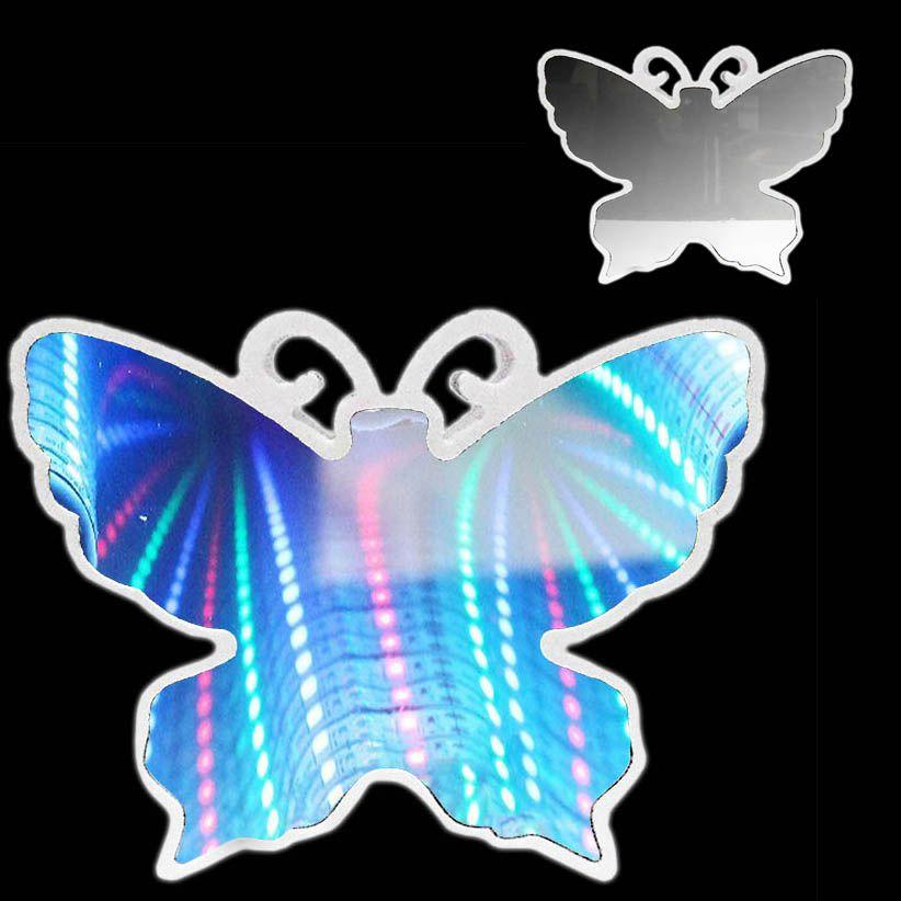 Luminaria 3D Infinito Borboleta Espelho Led Luz Profundidade Quarto (QZ3802)
