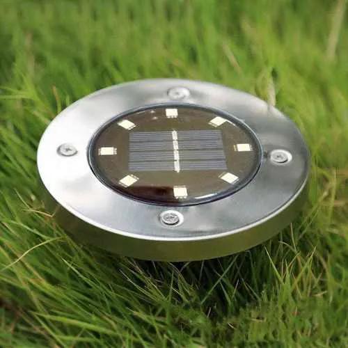 Luminaria 8 Leds Energia Solar Grama Kit de 4 Unid Sitio Fazenda Gramado