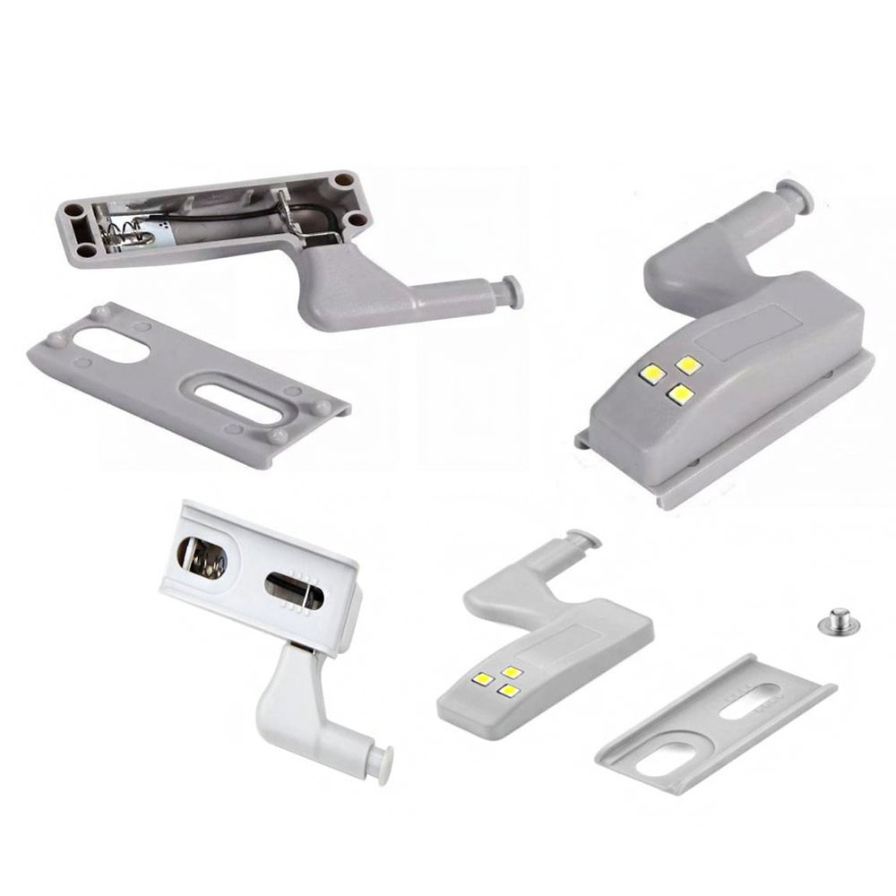 Luminaria de Armario LED Automatica Dobradiça Sensor Inteligente  Lampada Guarda Roupa Porta Iluminaçao Kit 4 Uni