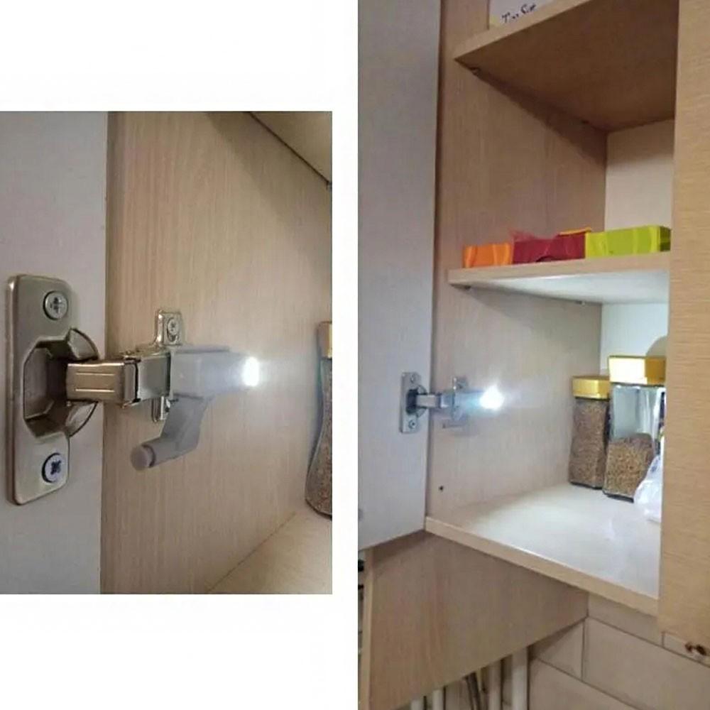 Luminaria de Armario LED Automatica Dobradiça Sensor Inteligente  Lampada Guarda Roupa Porta Iluminaçao Kit 8 Uni