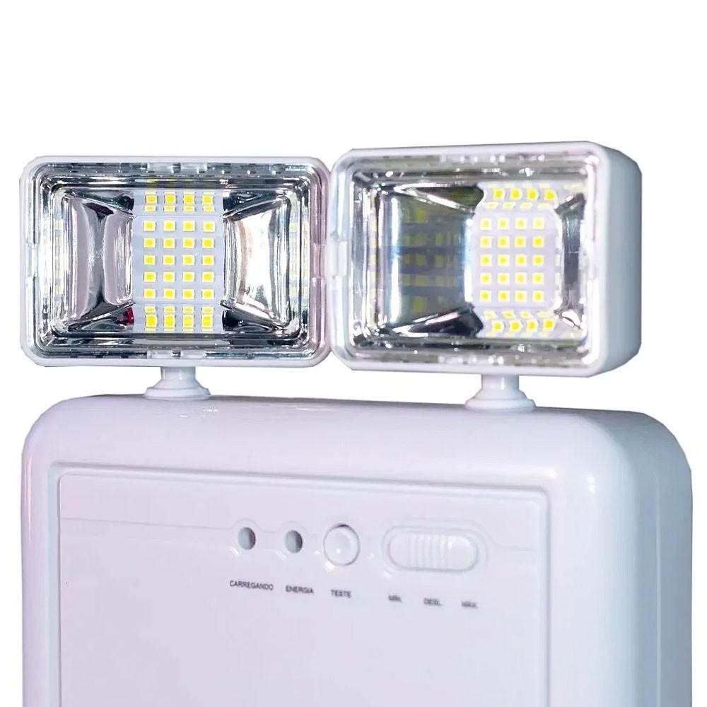 Luminaria de Emergencia 2 Farois Lampada LED Recarregavel Luz Iluminaçao Empresa Casa Comercio