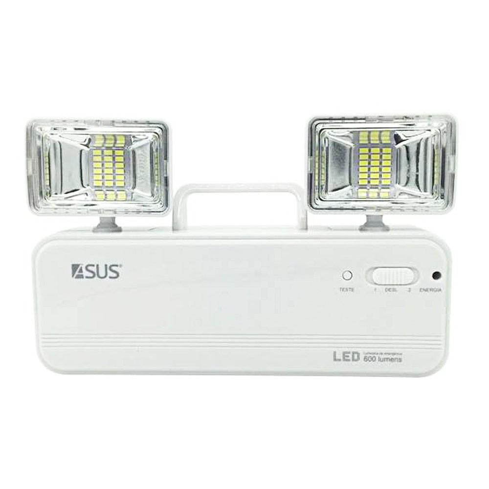 Luminaria de Emergencia 2 Farois Recarregavel LED Lampada 600 Lumens Iluminaçao Casa Empresa Comercio Luz