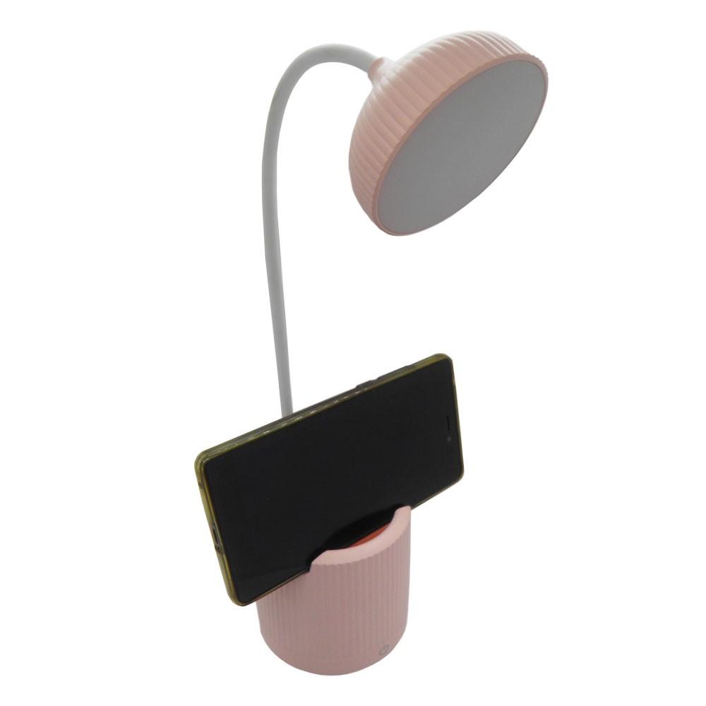Luminaria de Mesa Abajur Touch Screen LED Recarregavel Flexivel Suporte Celular Iluminaçao Lampada